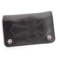 1ジップ クロスパッチ ウォレット 二つ折り財布 クロスボタン ブラック