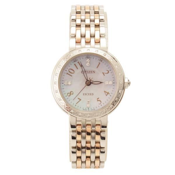 エクシード 腕時計 ダイヤモンド シェル文字盤 H030-T020003 シルバー×ゴールド
