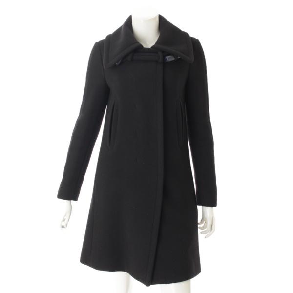 ウール ロングコート ブラック 34