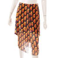19AW ベロア レイヤード スカート 花柄 ブラック オレンジ 36