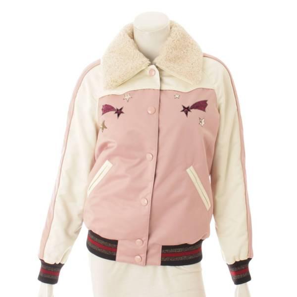 ボア スパンコール ジャケット F38560 ピンク×ホワイト XS