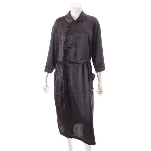 コムコム 20AW ピーターパンカラー ロングシャツ ワンピース ブラック M