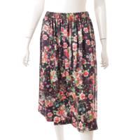 コムコム 2021SS フラワープリント シルク スカート 花柄 ブラック S