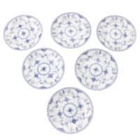 ブルーフルーテッド ハーフレース ケーキプレート 皿 W17cm 6枚セット