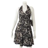 ノースリーブ ドレス ワンピース 総柄 ブラック×ベージュ 2