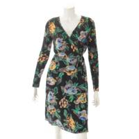 シルク ラップ 花柄 ドレス ワンピース ブラック×グリーン 4