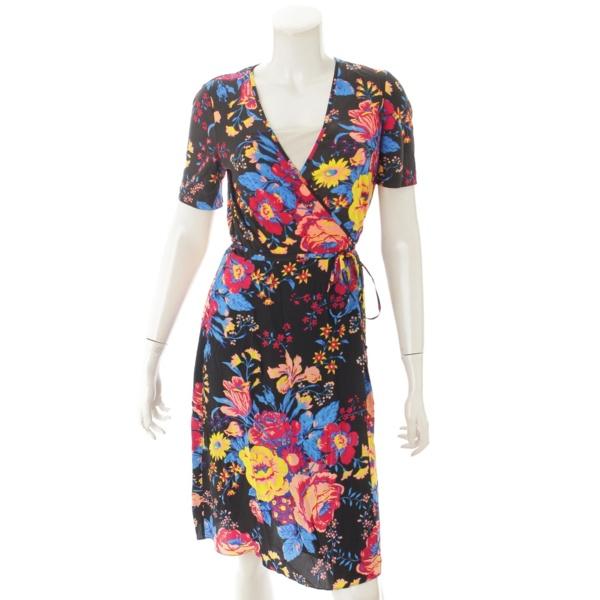 シルク ラップ 花柄 ドレス ワンピース ブラック×レッド 4