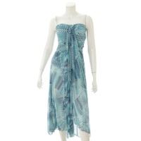 ベアトップ 総柄 ワンピース ドレス ブルー 2