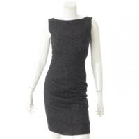 コットン ウール混 ノースリーブ リボン ドレス ワンピース ブラック 0
