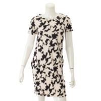 半袖 総柄 ワンピース ドレス アイボリー×ブラック 2