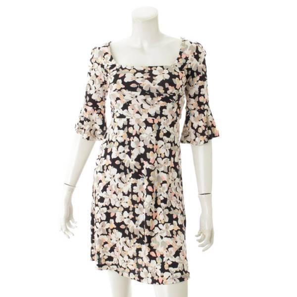 スクエアネック 七分丈 フラワー ワンピース ドレス ブラック×ホワイト 0