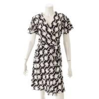 シルク混 ラップ ドレス ワンピース ブラック×ホワイト 4