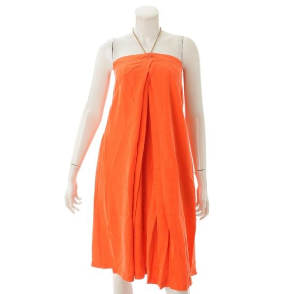 シルク ビジュー ネックホルダー サンドレス ワンピース オレンジ 2