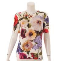 シルク フローラル ブラウス トップス 花柄 マルチカラー 40