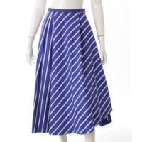 ストライプ フレアスカート ブルー 34