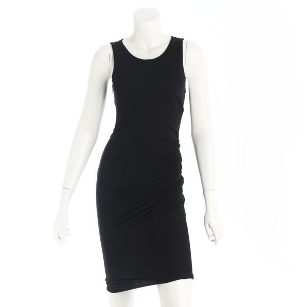サイドギャザー ドレス ワンピース ブラック