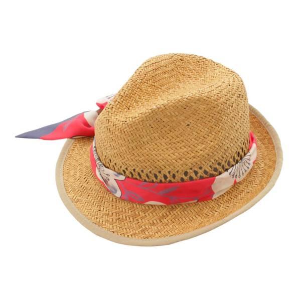 スカーフ ストローハット 麦わら帽子 637303 ナチュラル