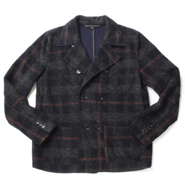 ジュニア チェック ウールジャケット グレー×ネイビー 12A