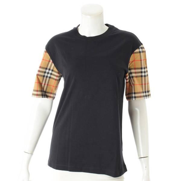 チェック 袖切替 Tシャツ 8014895 ブラック XS