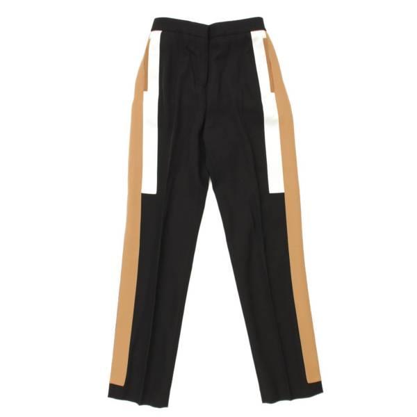 ヴァージンウール サイドライン スラックス パンツ ブラック UK4