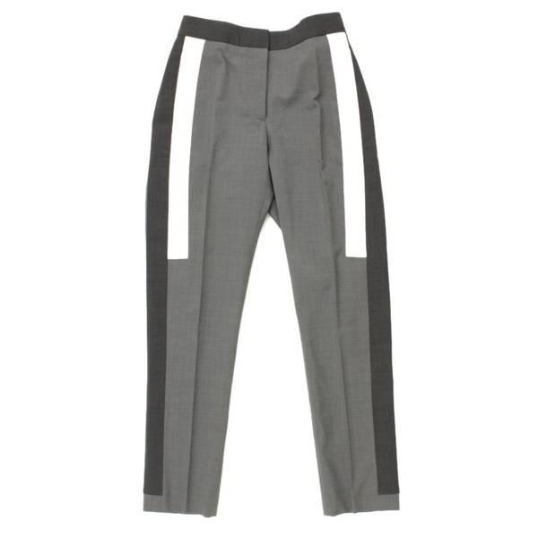 ストレッチウール サイドライン スラックス パンツ グレー UK4