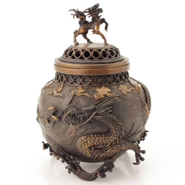 高岡銅器 村田宏 喜泉 作 蝋型鋳銅 麒麟摘 龍紋香炉