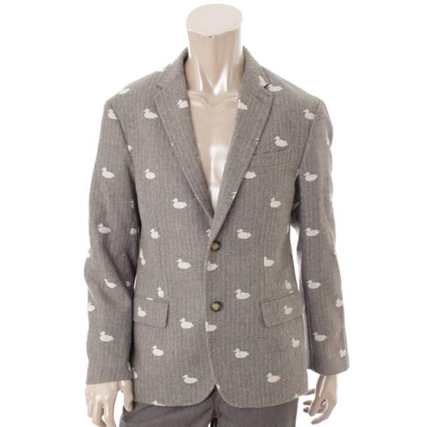 KOE コエ トムブラウンコラボ メンズ 刺繍総柄 テーラードジャケット グレー L