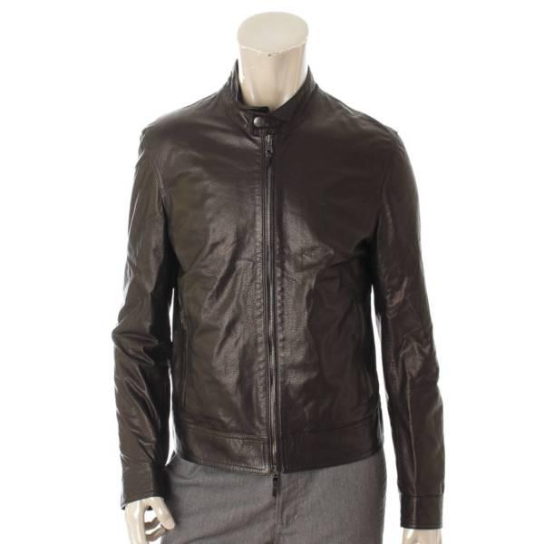 エンメティ メンズ レザー シングル ライダースジャケット ブラック 46