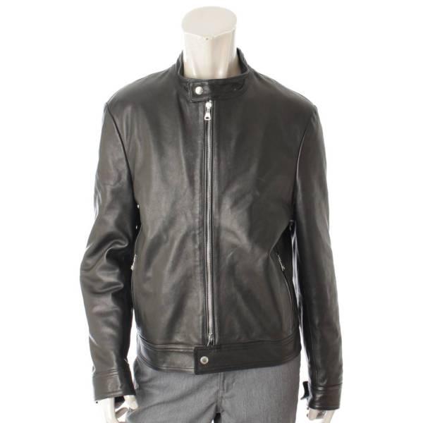 メンズ アンドレア レザー シングルライダースジャケット ブラック 48