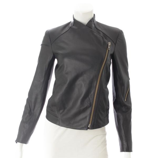 ヘルムートラング ウォッシュドラムスキン レザー モトジャケット ブラック XS