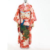 振袖 着物 五つ紋 花柄模様 ピンク系(帯別売り)