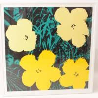 「花」(シリアル無し)黄色×緑 アンディ・ウォホール 新刷リトグラフ
