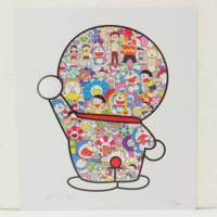 村上隆 1000枚限定サイン入りポスター『藤子F不二雄先生とドラえもんがお花畑に居る』