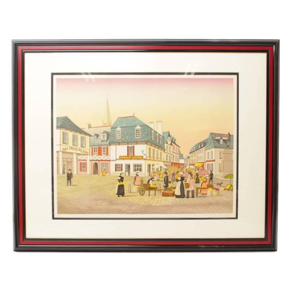 ファンシュ・ルダン『古い街の風景』250枚限定リトグラフ・絵画・骨董品