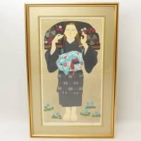 森田曠平『少女像』内閣総理大臣賞作家の86枚限定リトグラフ・絵画・骨董品