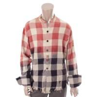 GREG LAUREN グレッグローレン STUDIO SHIRT ダメージ加工 チェックシャツ 1