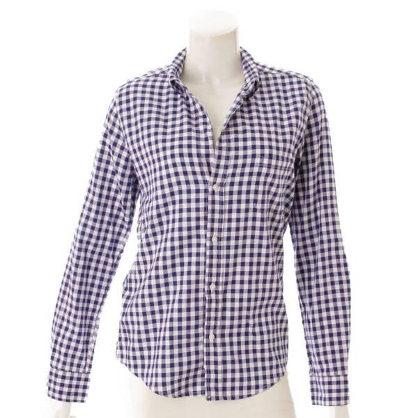 フランク&アイリーン ギンガムチェック オープンカラー シャツ ブルー×ホワイト S