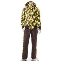 マーク&ロナ メンズ ダウンジャケット パンツ セットアップ ブラウン×イエロー M