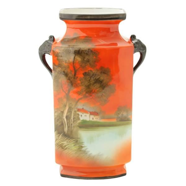 オールド・ノリタケ「風景文花瓶」1921年〜1941年頃 H25 M-JAPANグリーン印あり