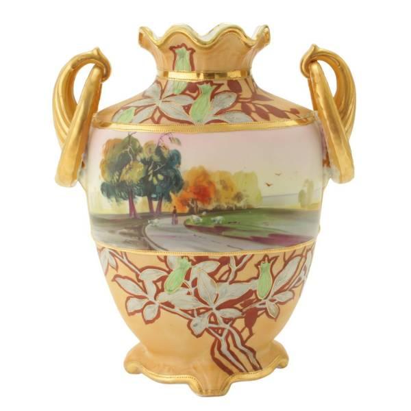 オールド・ノリタケ「耳輪風景文花瓶」1911年〜1921年頃M-NIPPONグリーン印あり