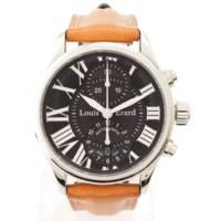 ルイ エラール 320 自動巻クロノグラフ 腕時計 ブラック ブラウン ブルー 替えベルト2本付き メンテナンス済