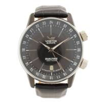 ボストークヨーロッパ DUALTIME クロノグラフ 自動巻き 腕時計 GAZ-14 ブラック 動作確認済