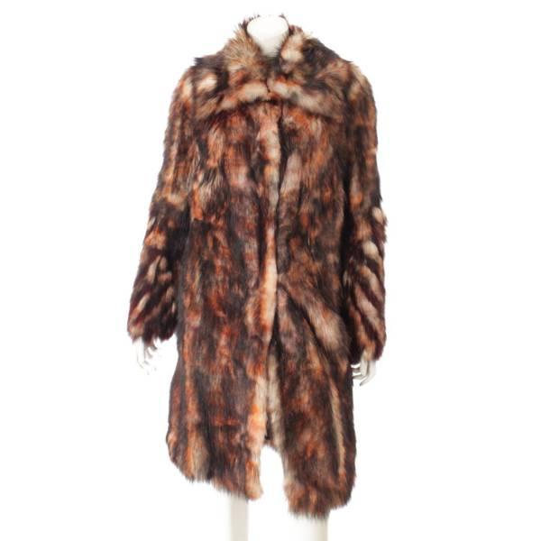 ファー 毛皮 ロングコート ジャケット マルチカラー  40