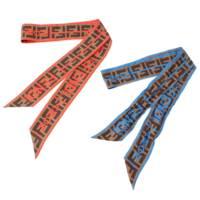 ズッカ ロゴ ラッピー シルクスカーフ 2点セット レッド ブルー ブラウン