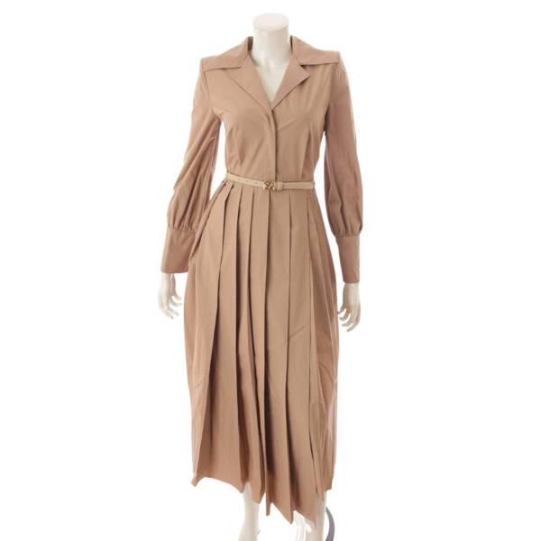 プリーツ ワンピース シャツドレス FDA687 ピンクベージュ 36