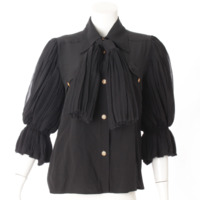 シルク フリル袖 ブラウス シャツ ブラック 42