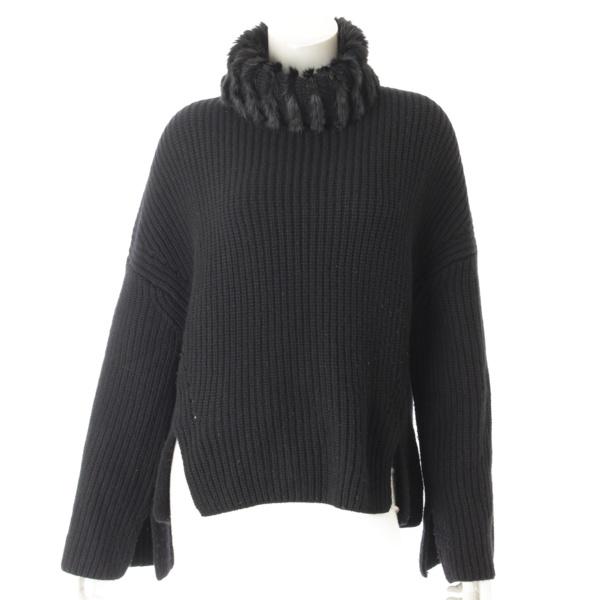 カシミヤ ミンクファー付 ニット セーター ブラック 40