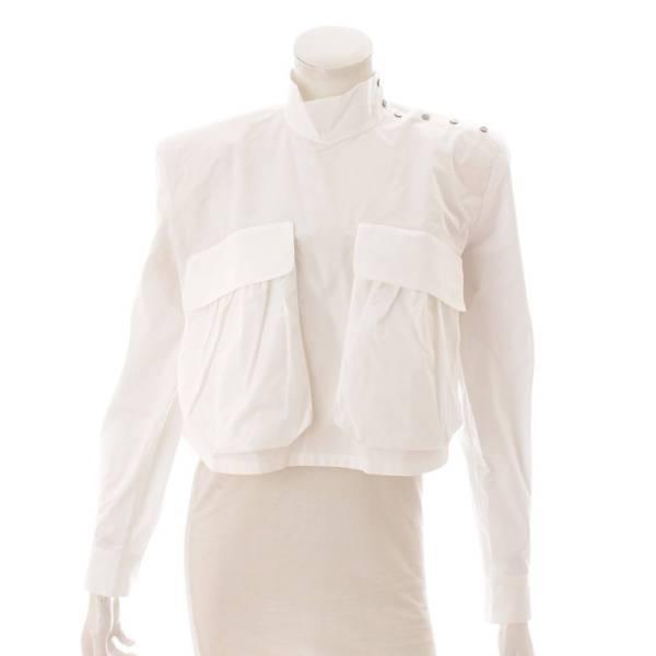 ポケット ショート ブラウス トップス シャツ ホワイト 42