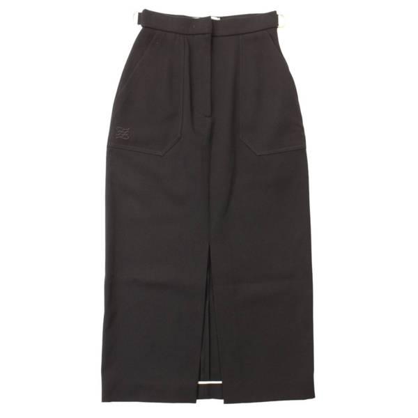 2019年 ロゴ 刺繍 ヴァージンウール ロングスカート FQ7101 ブラック 36