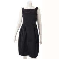 リボン バルーン ノースリーブ ワンピース ドレス 24921 ブラック 40 SP版